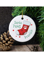 Personalised Santa Paws Round Ceramic Decoration