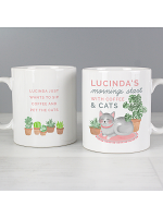 "Personalised ""Mornings Start with Cats and"" Mug"