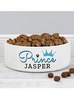 Personalised Prince 14cm Medium Ceramic White Pet Bowl