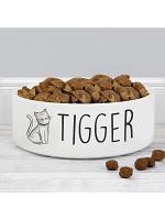 Personalised Scribble Cat 14cm Medium Pet Bowl