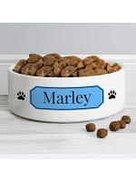Personalised Blue Plaque 14cm Medium Pet Bowl