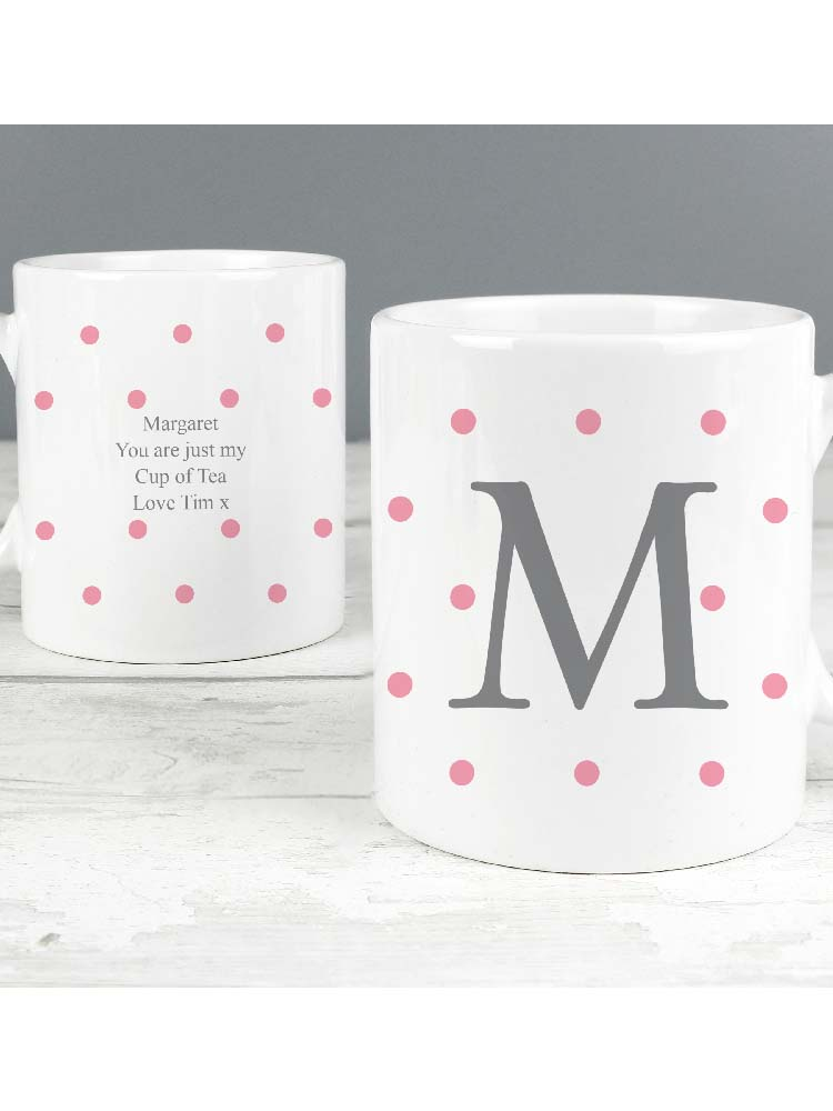 Personalised Monogram Pink Spot Mug