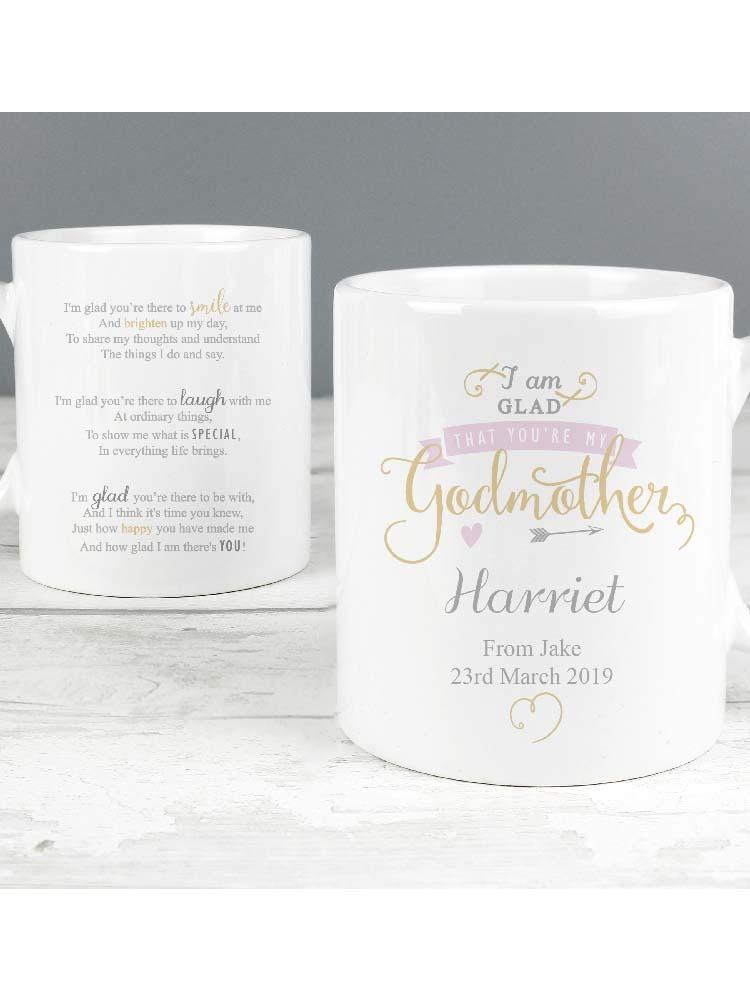 Personalised I Am Glad... Godmother Mug