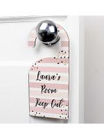 Personalised Gold and Pink Stripe Door Hanger