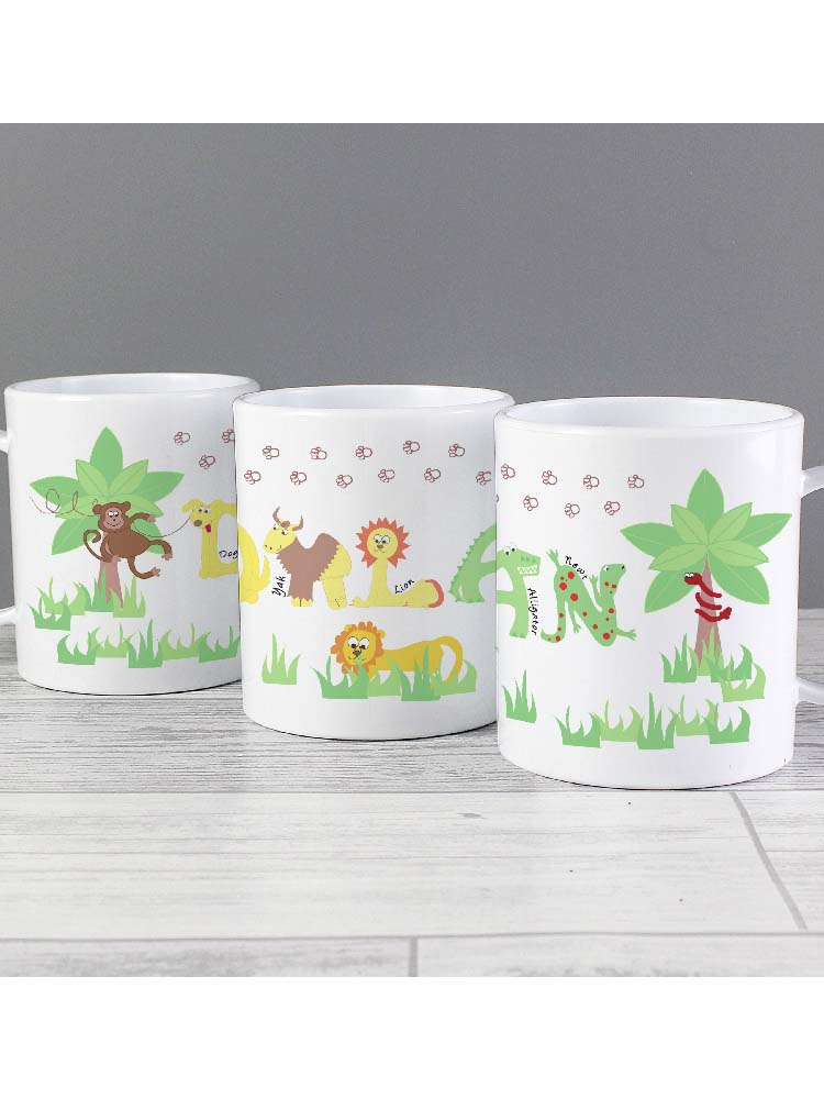 Personalised Blue Animal Alphabet Plastic Mug
