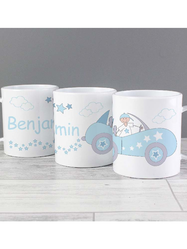 Personalised Little Monkey in Car Plastic Mug
