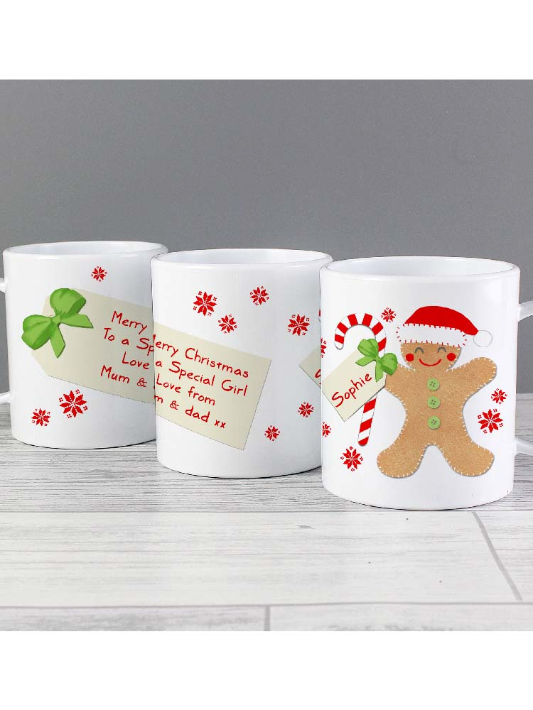 Personalised Felt Stitch Gingerbread Man Plastic Mug