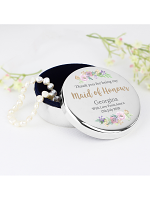 Personalised Maid of Honour 'Floral Watercolour Wedding' Round Trinket Box