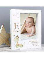 "Personalised Hessian Giraffe 7""x5"" Box Photo Frame"