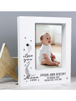 "Personalised Baby To The Moon and Back 7""x5"" Box Photo Frame"
