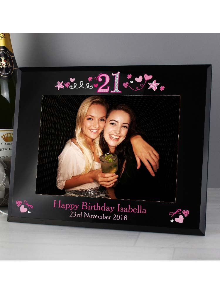 "Personalised 21st Birthday Black Glass 7""x5"" Photo Frame"