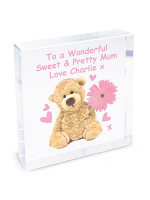 Personalised Teddy Flower Large Crystal Token