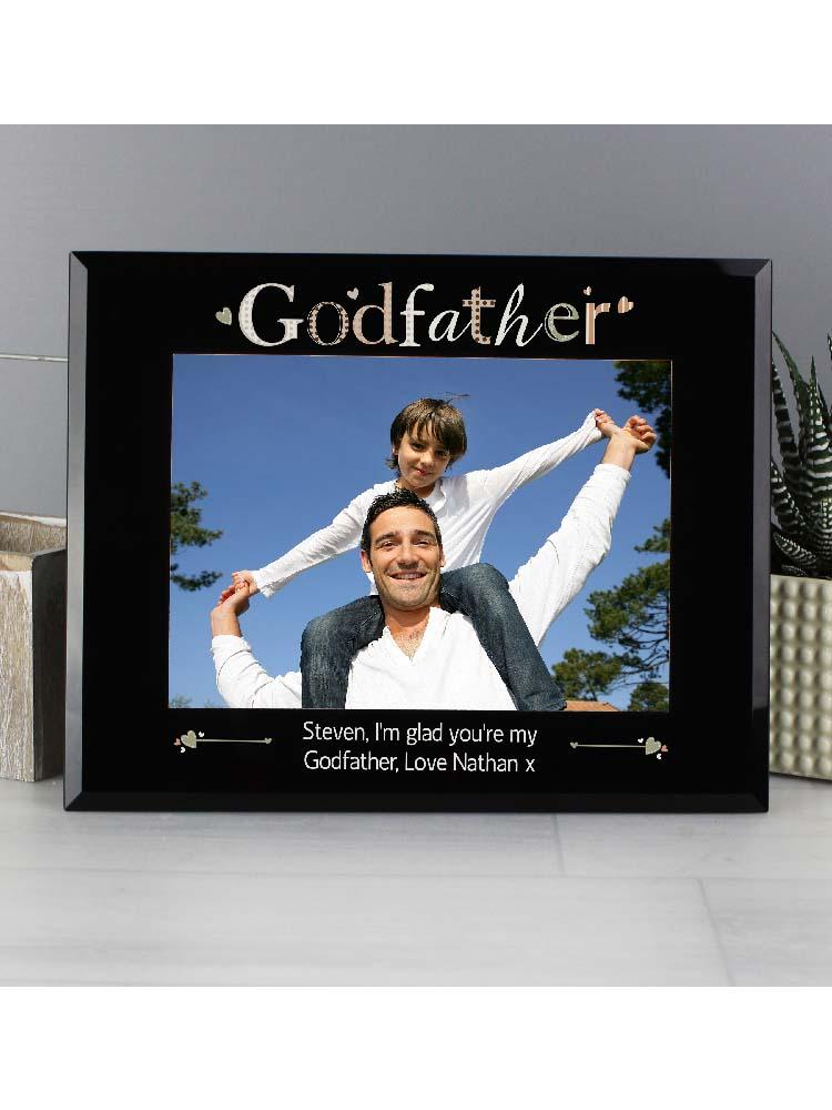 Personalised Godfather Black Glass 7x5 Photo Frame