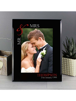 """Personalised Ruby Couples 7""""x5"""" Black Glass Photo Frame"""