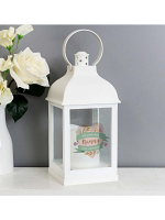 Personalised Floral Heart Mothers Day White Lantern