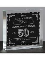 Personalised Birthday Vintage Typography Large Crystal Token