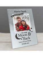 "Personalised To the Moon and Back 4""x4"" Glitter Glass Photo Frame"