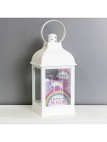 Personalised Unicorn Frost White Lantern