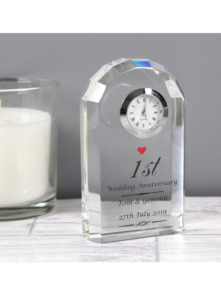 Personalised Heart Motif Crystal Clock