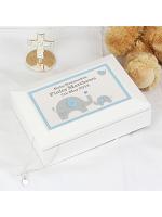 Personalised Blue Baby Elephant White Wooden Keepsake Box