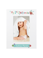 Personalised Felt Stitch Robin My 1st Christmas 6x4 White Wooden Photo Frame