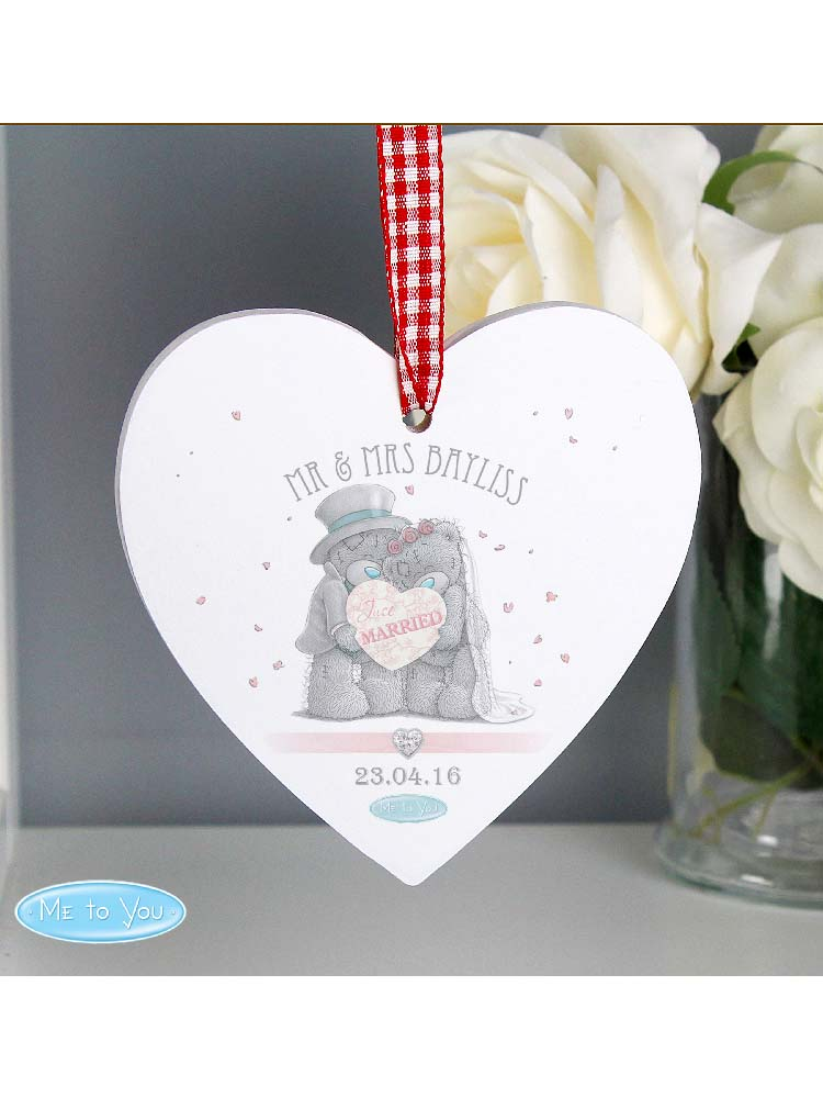 Personalised Me To You Wedding Couple Wooden Heart Decoration