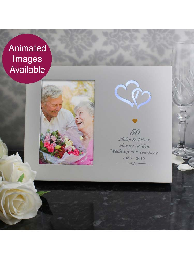Personalised Gold Hearts 6x4 Light Up Frame