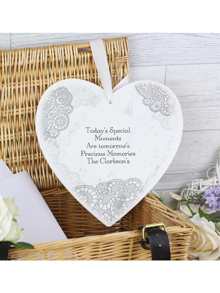 Personalised Dainty Lace 22cm Large Wooden Heart Decoration