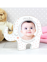 Personalised Pink Spotty Elephant Baby Photo Frame