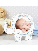Personalised Blue Stars Elephant Baby Photo Frame