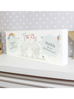Personalised Hessian Elephant Twins Wooden Block Sign