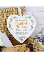 Personalised Maid of Honour 'Floral Watercolour Wedding' 22cm Large Wooden Heart Decoration