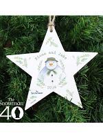 Personalised The Snowman Winter Garden Wooden Star Decoration