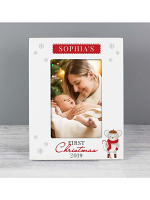 Personalised '1st Christmas' Mouse White 6x4 Photo Frame