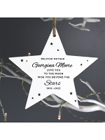 Personalised Miss You Beyond The Stars Wooden Star Decoration