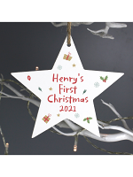 Personalised First Christmas Wooden Star Decoration