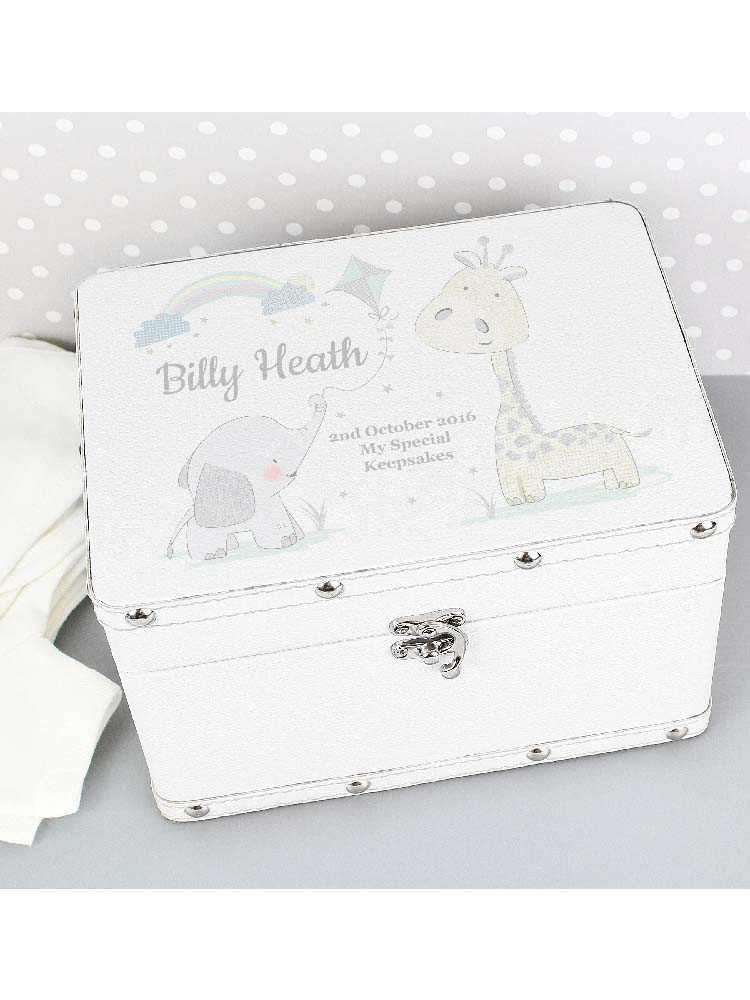 Personalised Hessian Friends White Leatherette Keepsake Box