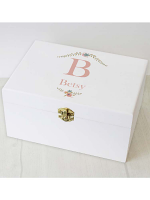 Personalised Floral Bouquet White Wooden Keepsake Box