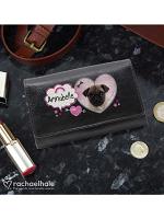 Personalised Rachael Hale Doodle Pug Black Purse