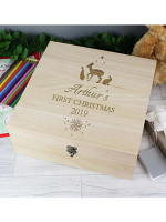 Personalised Christmas Large Wooden Keepsake Box