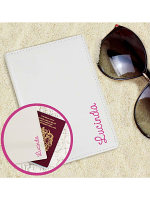 Personalised Pink Name Island Cream Passport Holder