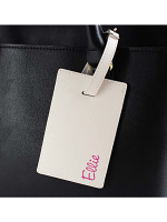 Personalised Pink Name Cream Luggage Tag