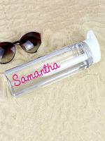 Personalised Pink Name Island Water Bottle