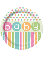 Pastel Baby Shower Plates 9""