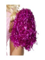 Pink Pom Poms -sold in pairs- Metallic