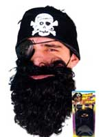 Pirate Beard Black Nylon Deluxe Carded (Quantity 1)
