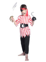 Red Stripe Pirate Boy Costume