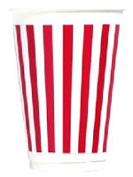Red and White Stripe 16oz. Plastic Cups