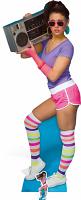 80's Neon Boombox Girl - Cardboard Cutout