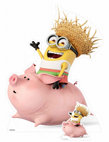 Dave Minion riding a pig - Cardboard Cutout